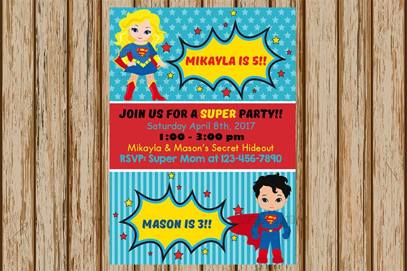Supergirl And Superman Birthday Invitations