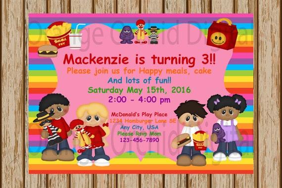 Mcdonald S Birthday Invitations Mcdonald S Playplace Etsy