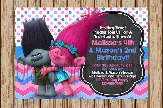 trolls birthday invitations trolls birthday party poppy and etsy
