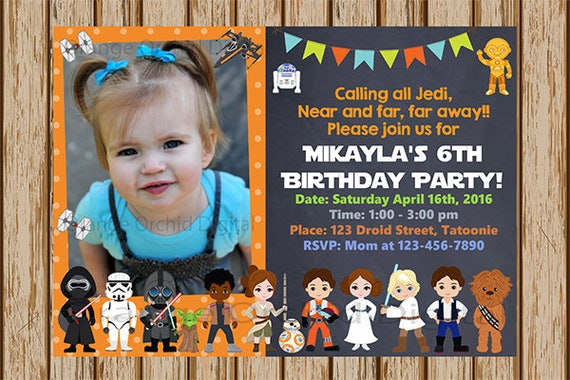 Star Wars Birthday Invitations ADD A PICTURE Rey BB 8