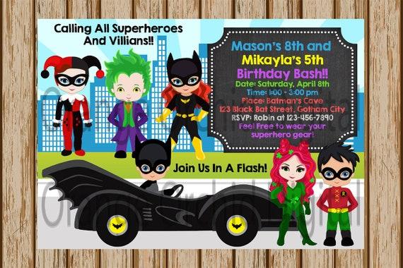 Batman Birthday Invitation Party Harley