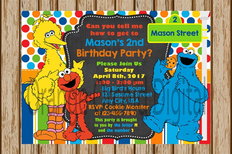 Sesame Street Birthday Invitation Boys