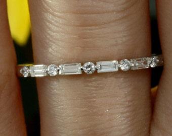 Baguette Diamond Wedding Band Halfway Wedding Ring Baguette Ring Stacking Ring Diamond Dainty Ring White Gold Ring Minimalist Ring