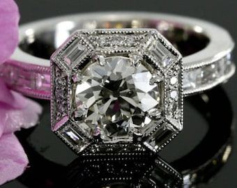 7.5mm Forever Brilliant Moissanite Halo Engagement Ring with Diamonds, Baguette Diamonds(available in rose, white, yellow gold and platinum)