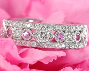 14k White Gold Diamond and Pink Sapphire Wedding Band, Three quarter Matching Band, Anniversary Band, Sapphire Wedding Ring,