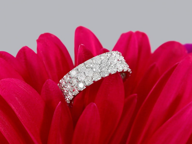 Pave Diamond Band Right Hand Ring Ladies Wedding Ring Wide Etsy
