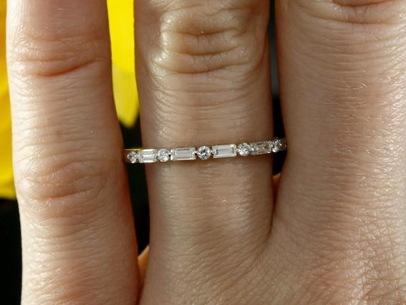 26cb2ef4134eba Baguette Diamond Wedding Band Halfway Wedding Ring Baguette | Etsy