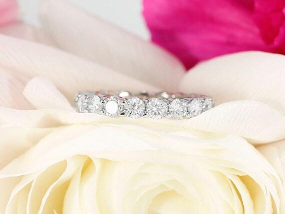 2 10ct Eternity Diamond Wedding Band In 14k White Gold Etsy