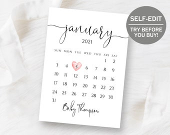 Pregnancy Calendar Printable Calendar Pregnancy Announcement July 2020 Pregnancy Reveal Pregnancy Announcement Calendar Due Date July