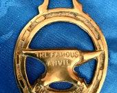 Vintage brass horse badge Gretna Green Famous Anvil Scottish wedding gift souvenir UK