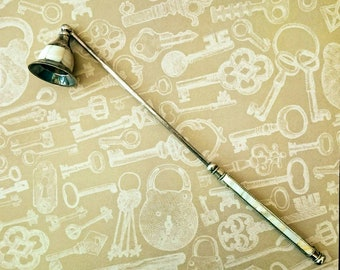 Vintage candle snuffer long handle silver coloured mother of pearl inlayed UK