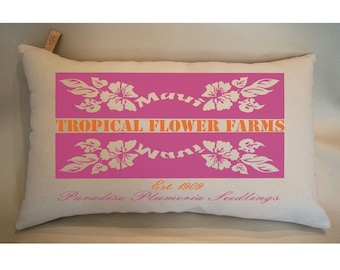 Kona Coffee Pillow Hawaiian Decor Pillow Hawaiian Gifts Tropical Flowers Macadamia nuts Mauna Loa