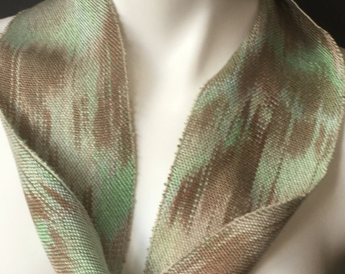 Hand-dyed, handwoven, Tencel, skinny infinity scarf in shades of greens and browns -SIS31