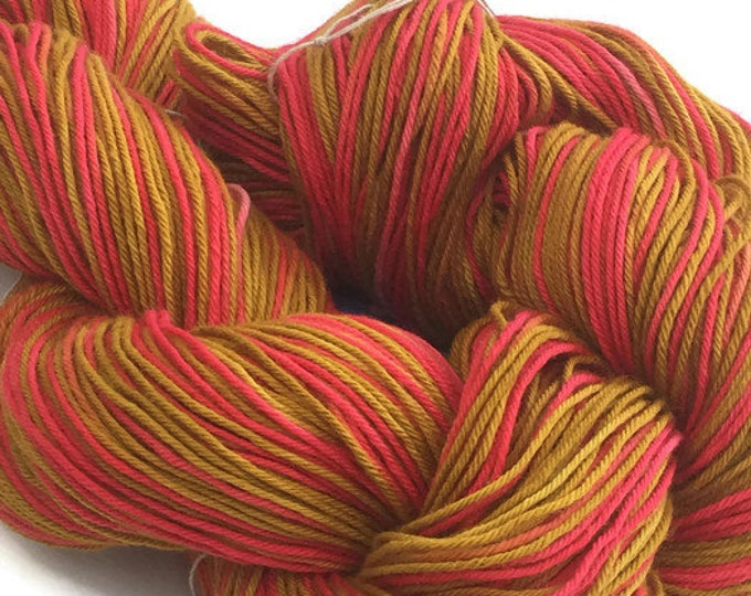 Hand-dyed yarn, cotton, 300 yard skeins, in crimson, hot pink, marigold, and dark goldenrod -81