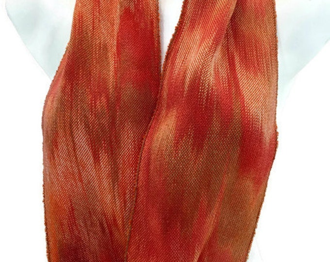 Hand-dyed, handwoven, Tencel, skinny infinity scarf in shades of orange -MIS74