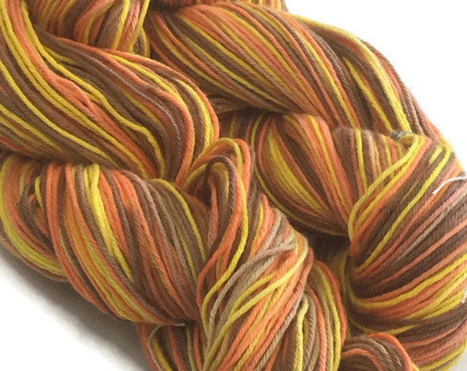 Hand-dyed, cotton 4-py yarn, 300 yard skeins, in yellow, brown, and orange -33