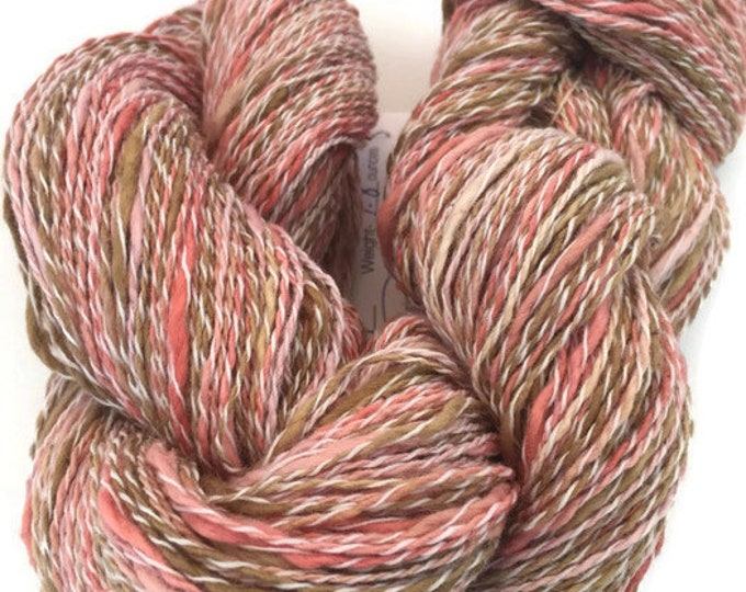 Hand-dyed, cotton and synthetic, 400 yards, in salmon, pink, and brown -062