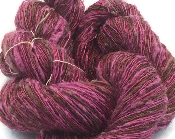 Hand-dyed, fingering, rayon slub, 400 yards, in brown, red-purple, and burgundy -076