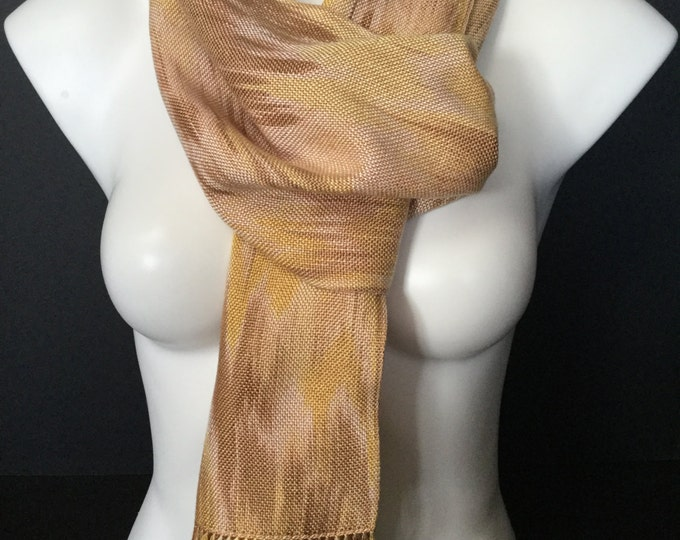 Hand-dyed, handwoven, fringed, Tencel scarf in shades of yellow, brown, and beige -HSS17