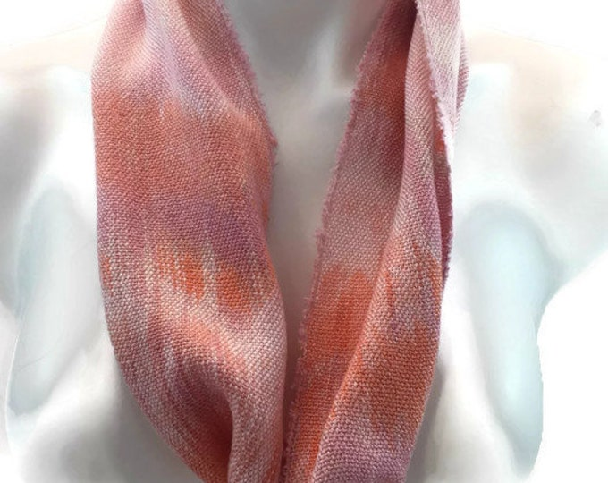 Hand-dyed, handwoven, Tencel, lightweight, infinity scarf in shades of pinks and orange -SIS83