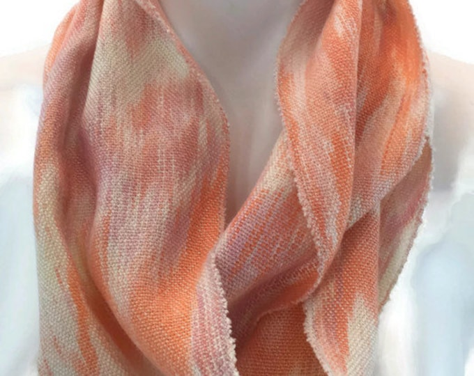 Hand-dyed, handwoven, Tencel, infinity scarf in shades of cream, pink, and orange -LIS67