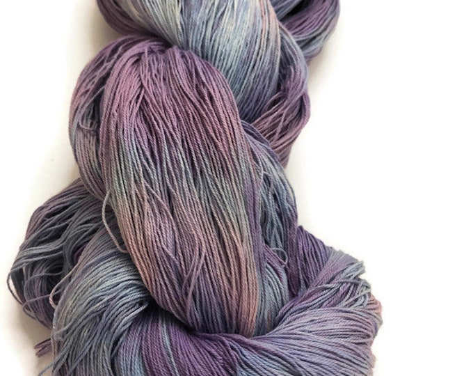 Hand-dyed, 16/3 cotton yarn, 1200+ yard skeins, in shades blues, purples and rose pink