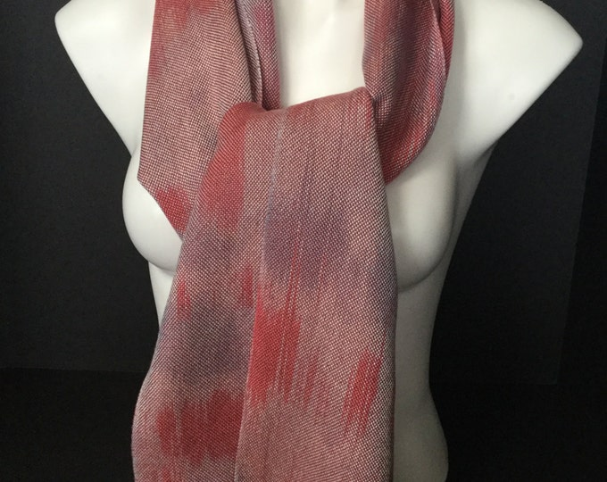 Hand-dyed, handwoven, fringed, Tencel scarf/wrap in shades of pinks and greys -HSS10
