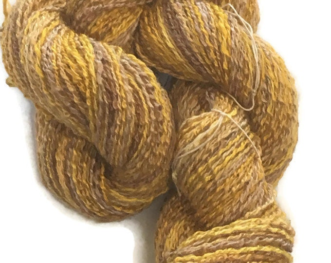 Hand-dyed, cotton and rayon, boucle yarn, 200 yards, in shades of golden brown and mustard -41