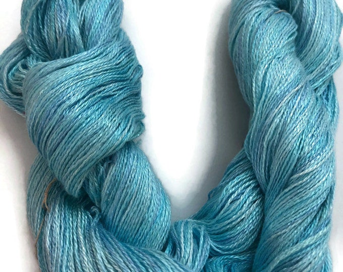 Hand-dyed 8/2 rayon yarn, 500 yard skein, in shades of light to medium blue
