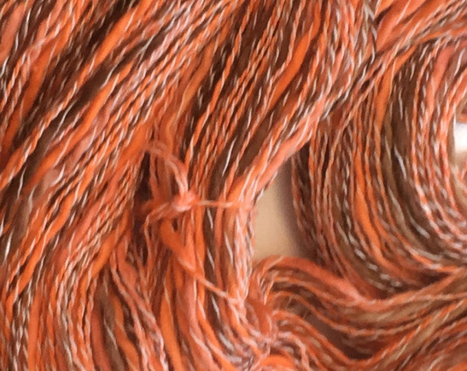 Hand dyed cotton and synthetic yarn in orange and brown -0065