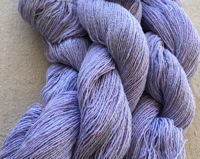 Handdyed, 8/2 cotton yarn, 500 yard skeins, in shades of lavender and red lavender