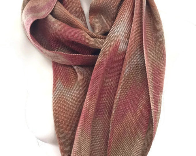Hand-dyed, handwoven, fringed, Tencel scarf in shades of beige, orange, and rust-HSS3