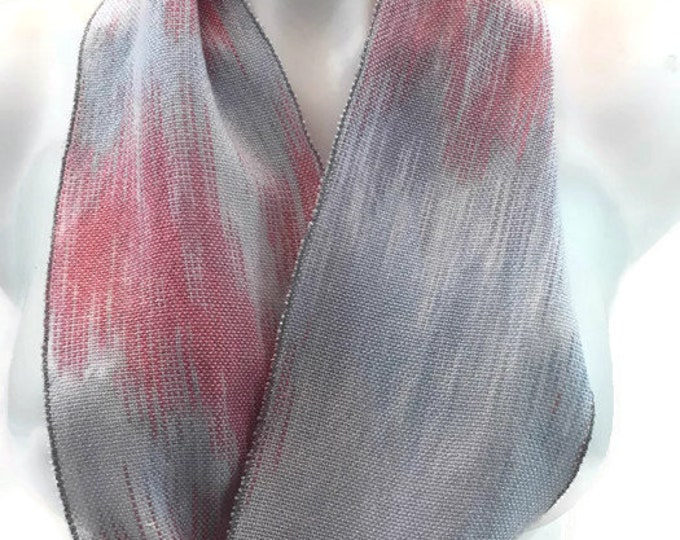 Hand-dyed, handwoven, Tencel, skinny infinity scarf in shades of light blue and pink -SIS75