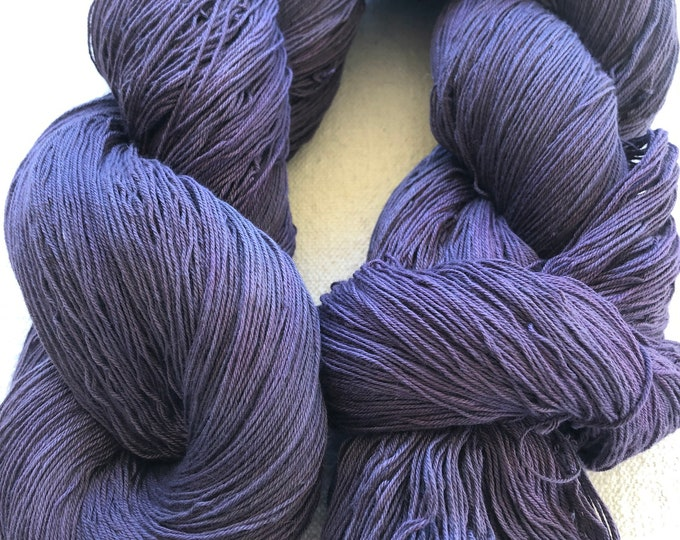 16/3 cotton, hand-dyed, 1200+ yard skein, shades of dark greyed purple