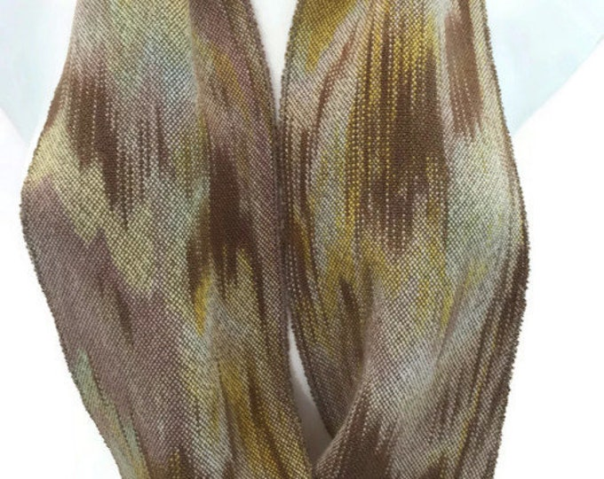 Hand-dyed, handwoven, Tencel, infinity scarf in shades of brown, beige, yellow, and light green -MIS76