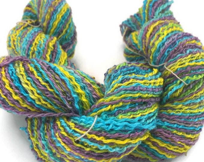 Hand-dyed cotton and rayon boucle, 200 yards, in purple, yellow, and turquoise -026