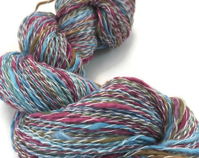Hand-dyed, cotton and synthetic, thick and thin yarn, 400 yards, in blue, raspberry, and brown -068