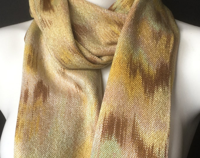Hand-dyed, handwoven, fringed, Tencel scarf in shades of yellow, gold, brown, and light green -TFS9