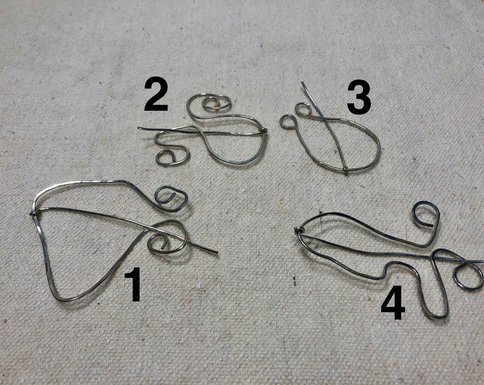 Handmade silver colored wire scarf/ shawl pin