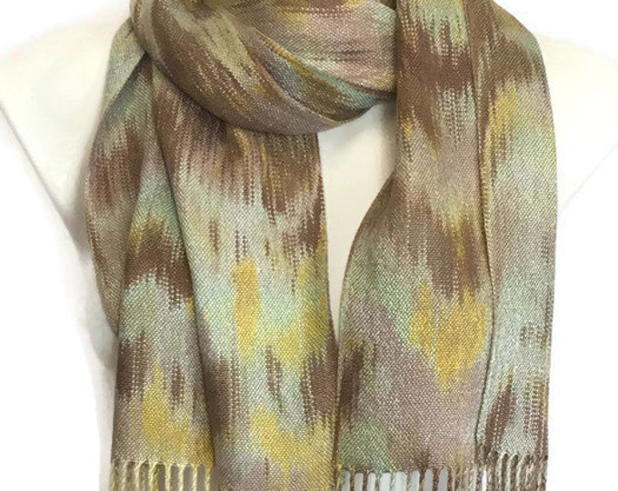 Hand-dyed, handwoven, fringed scarf, Tencel, table runner, in shades of brown, beige, yellow, and light green - TFS20