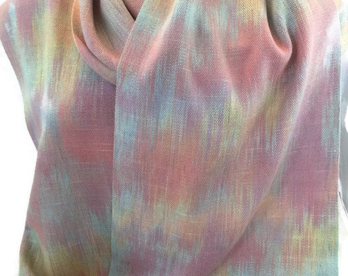 Hand-dyed, handwoven, fringed, rayon scarf in pastel shades of yellow, orange, pink, green, and raspberry -HSS44