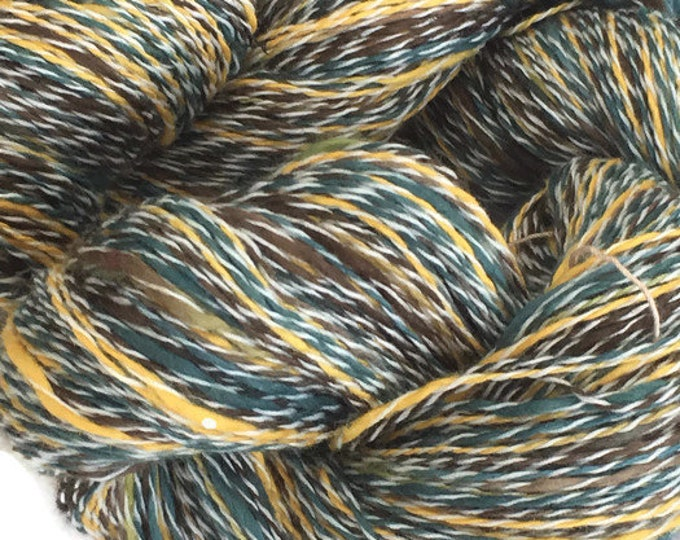 Hand-dyed, cotton and synthetic, thick and thin, 400 yards, in green, yellow, and brown with white -079