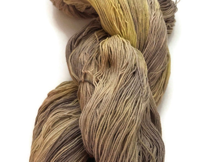 Hand-dyed, cotton yarn, 16/3 cotton, 1200+ yard skeins, in shades of brown, beige, yellow, and natural