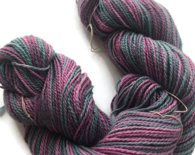 Hand-dyed cotton yarn, 2-ply, 200 yard skeins, in pink, mulberry, and medium blue