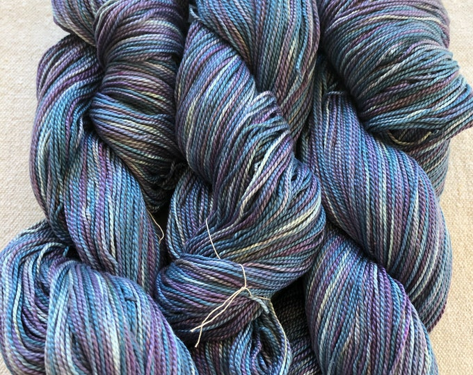 Hand-dyed, 3/2 mercerized cotton, 500 yard skein, in shades of blues and purples