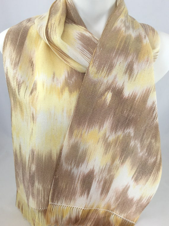 Handwoven, hand-dyed, Tencel scarf, in light shades of yellow and brown, fringed, table runner -HSS22