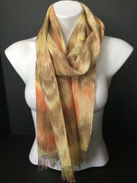 Hand-dyed, handwoven, fringed, Tencel scarf in shades of yellow, orange, and brown -HSS11