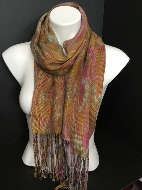 Hand-dyed, handwoven, fringed, Tencel scarf/wrap in shades of gold, mustard, pink, mauve, and sea foam green-TFS5