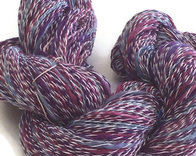 Hand-dyed, cotton and synthetic yarn, thick and thin, 400 yards, in shades of blue, purple, and white -78