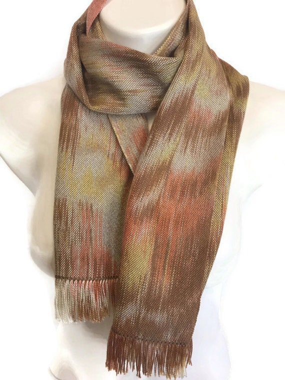Hand-dyed, handwoven, Tencel, fringed scarf, table runner, in shades of brown, yellow, beige, and orange -HSS45